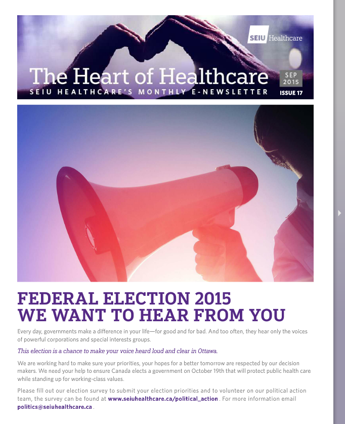 SEIU Healthcare September 2015 E-Newsletter
