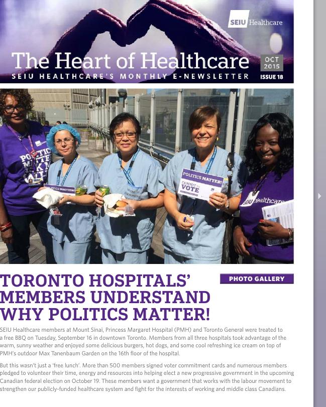 SEIU Healthcare October 2015 E-Newsletter