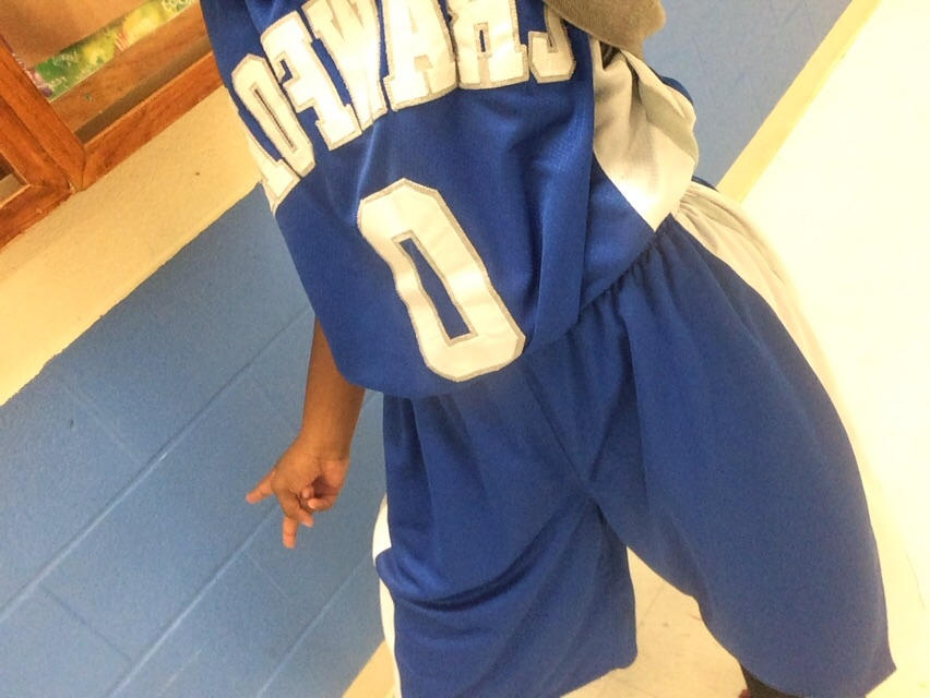 Deanna in her basketball jersey