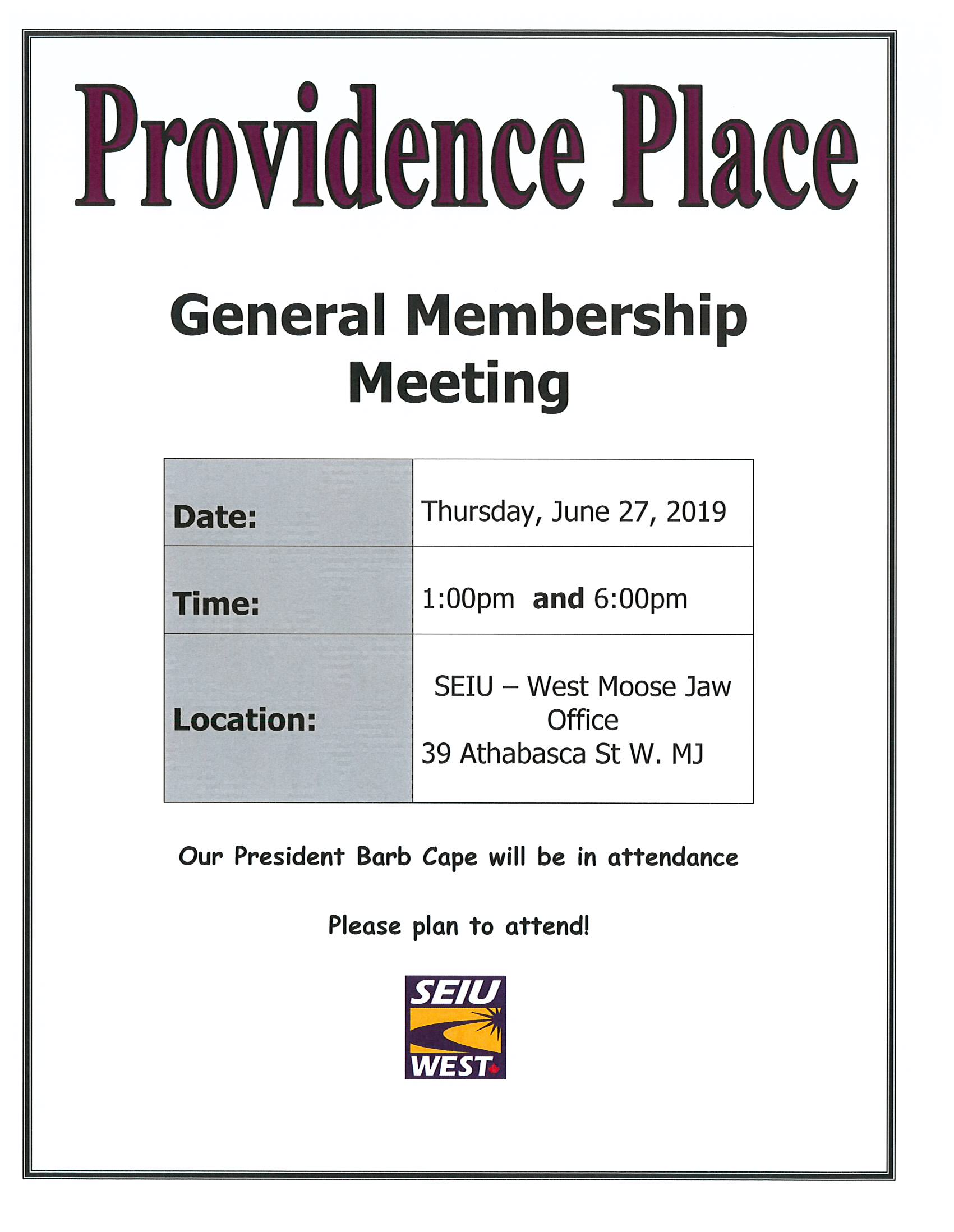 Unit Meeting Poster - Providence Place