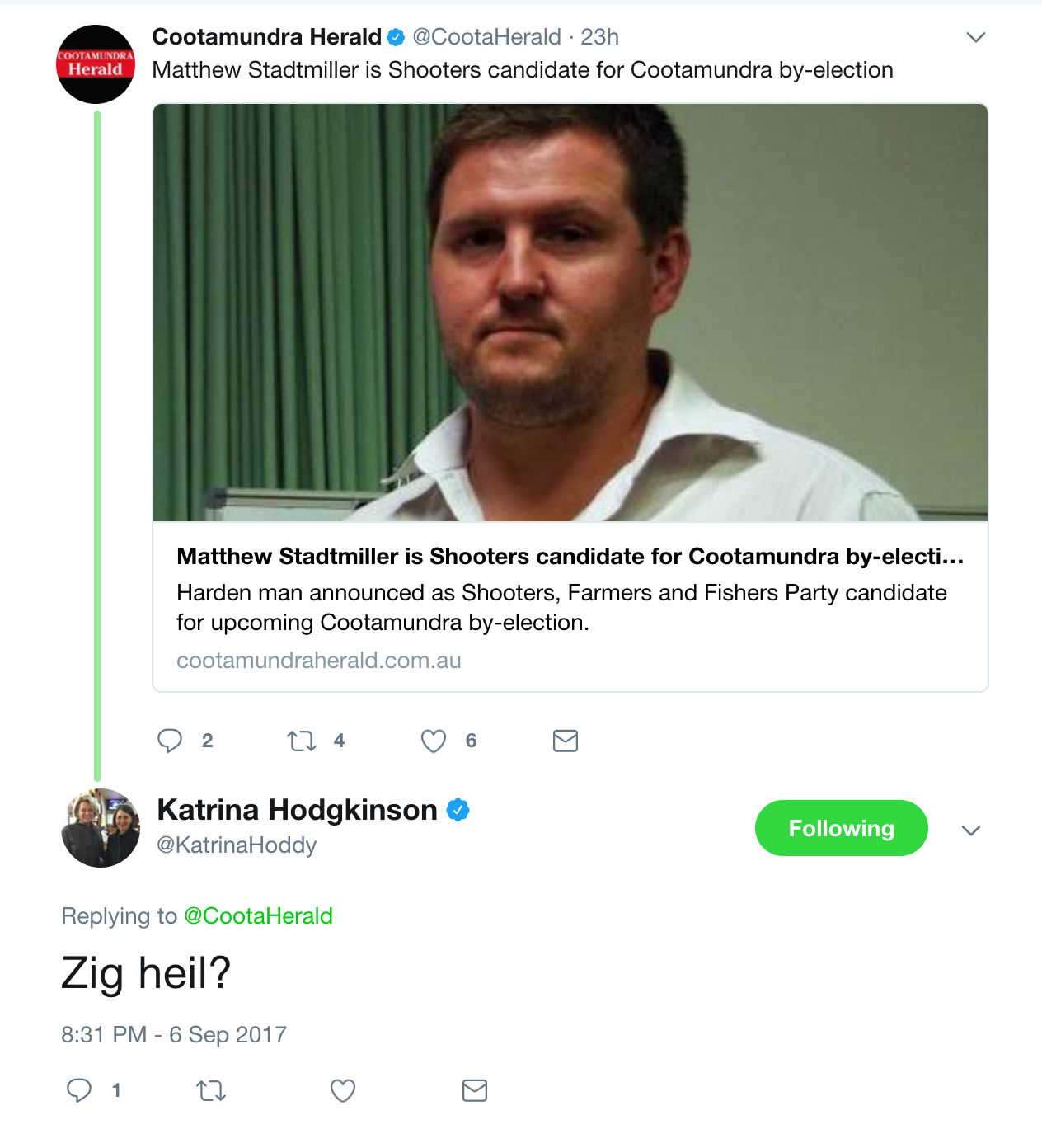 Katrina Hodgkinson's Nazi Slur