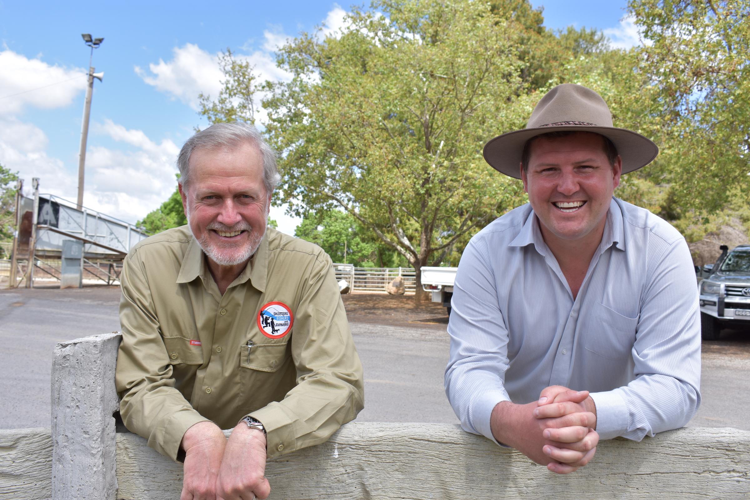 Robert Borsak MLC and Matthew Stadtmiller at Cowra saleyards
