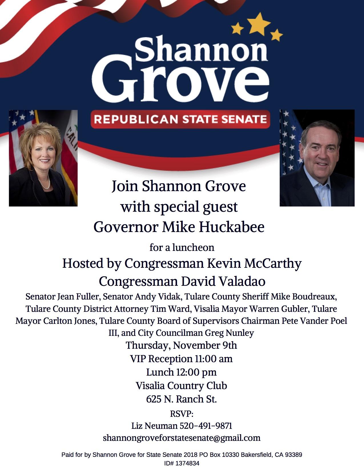 Huckabee Invite Tulare