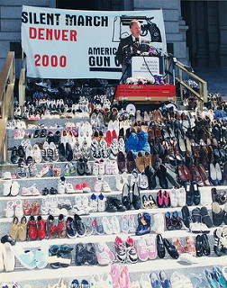 In the aftermath of the mass shooting at Columbine High School in Littleton, Colorado, a suburb of Denver, Silent March and local activists and concerned citizens created a shoes protest on the steps of the statehouse. At that time, many Americans believed, and hoped, that the nation had reached a \