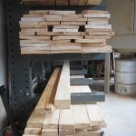 2 X 6 Sitka Spruce boards awaiting a wood preservative treatment.