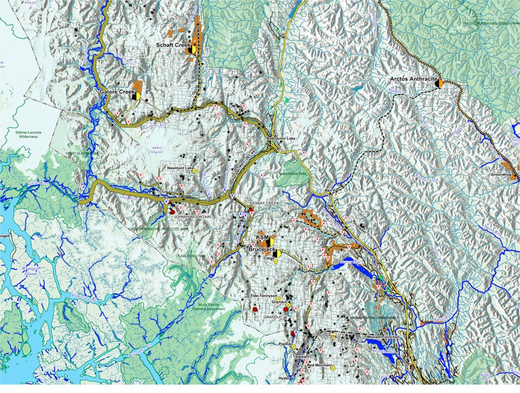 Map showing the proposed mines in the Unuk and Stikine watersheds provided by Rivers Without Borders.