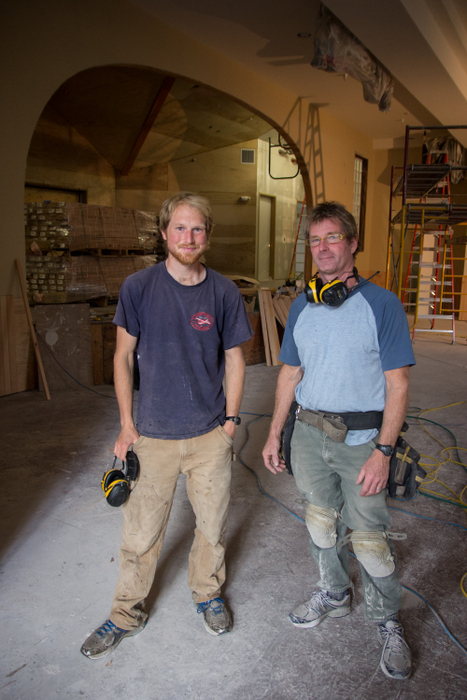 Sam Scotchmer and Pete Weiland during the renovation