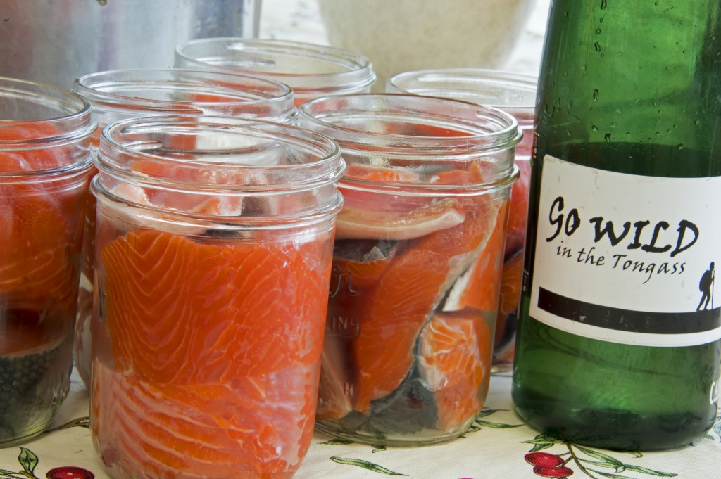 Salmon being prepped for pressure canning. PHOTO: Amy Gulick