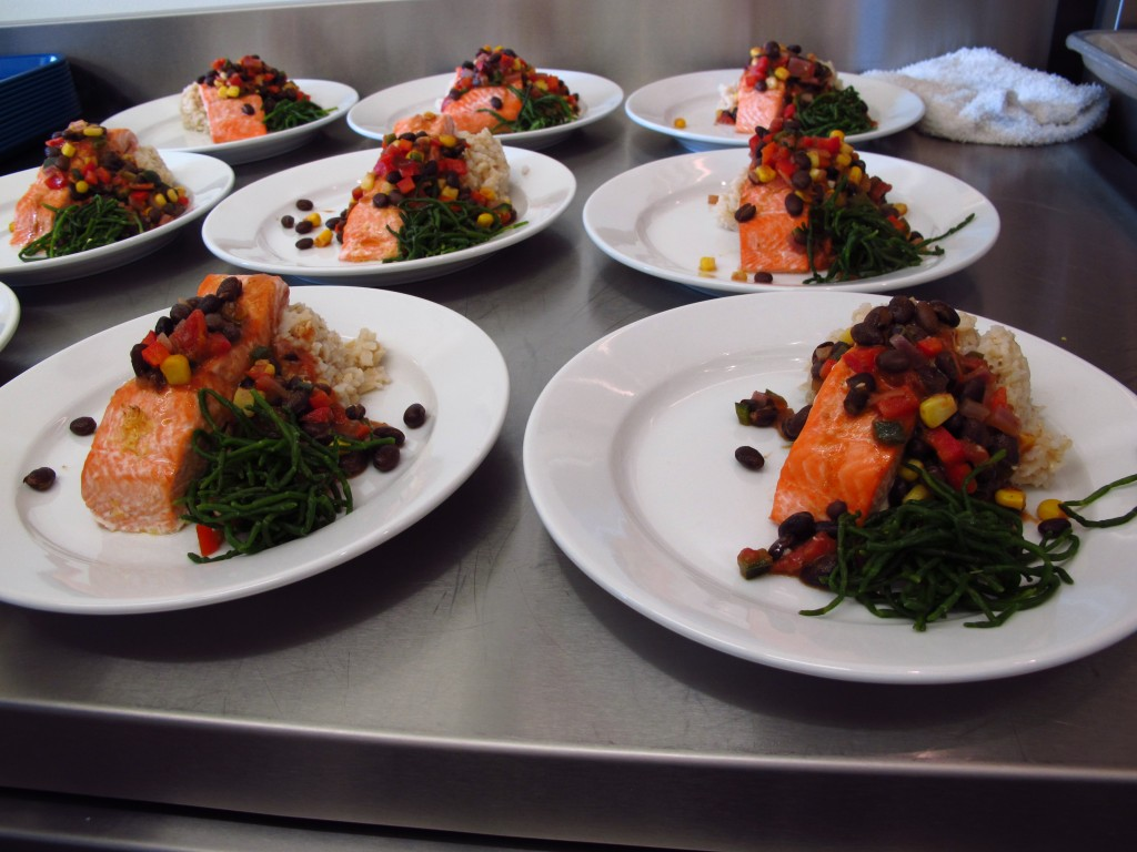 Coho with beach asparagus, served at a Fish to Schools lunch at Pacific High School.
