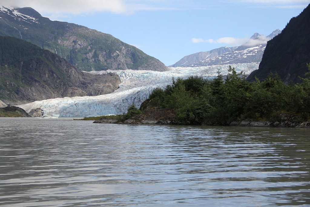 The Mendenhall Glacier was named for John Mendenhall, a former superintendent of the U.S. Coast Guard and Geodetic Survey.  The glacier was first named Auke Glacier by John Muir in 1879 for Aak'w Kwaan of the Tlingit.