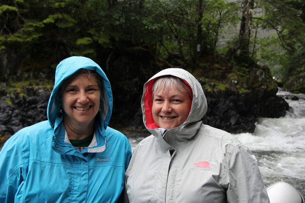 """Even a rainy day in Sitka is better than a good day at work!"" both Denise (right) and Maureen (left) agreed on their first and only day here in town."