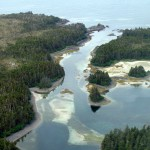 Dry Pass in West Chichagof Wilderness with sand bars, rock outcrops, eel grass, and pile worms