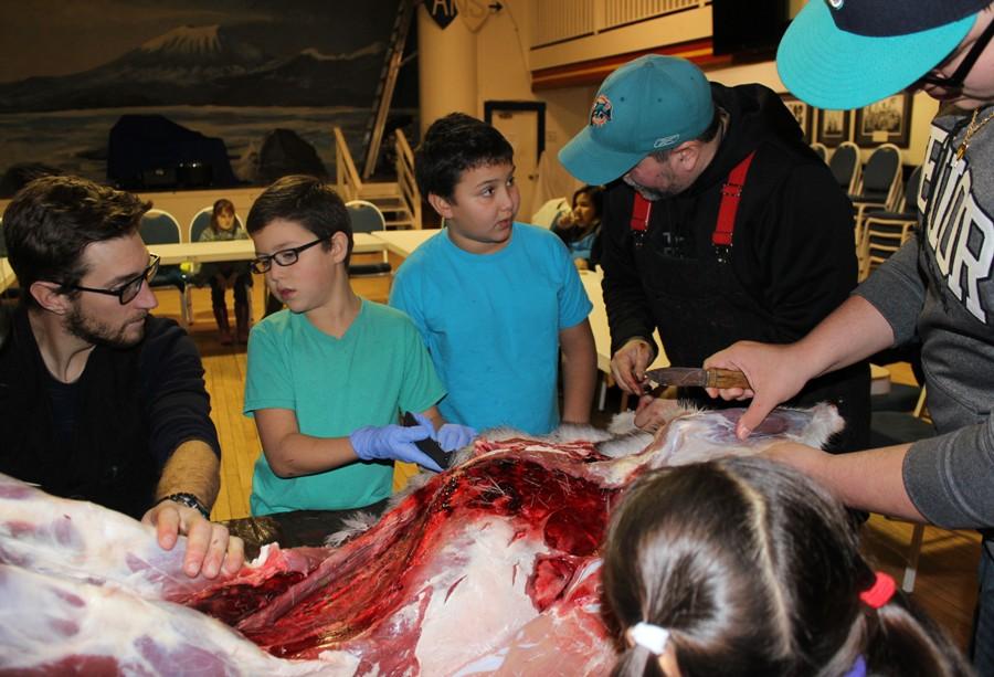 Chuck Miller and Dane McFadden mentor participants on skinning a deer
