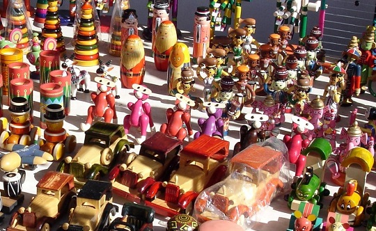 Display of wooden toys.