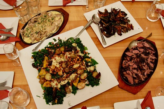Tassievore feast with Wild Rabbit with white wine and mustard; Grilled wild mushrooms; Venison with birch bolete, pepper berry and caramelised onion; Roast vegetables with dandelion greens, spiced chickpeas and wild sumac.