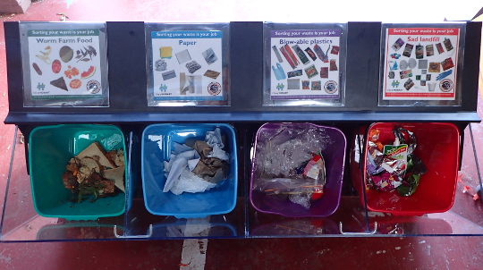 A close up look at a school waste station