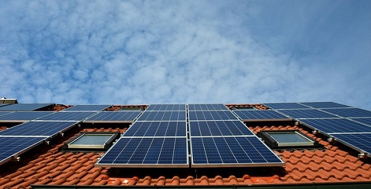 Solar panels on rooftop.