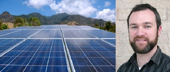 Photo of solar panels and SLT Executive Officer, Todd Houstein.