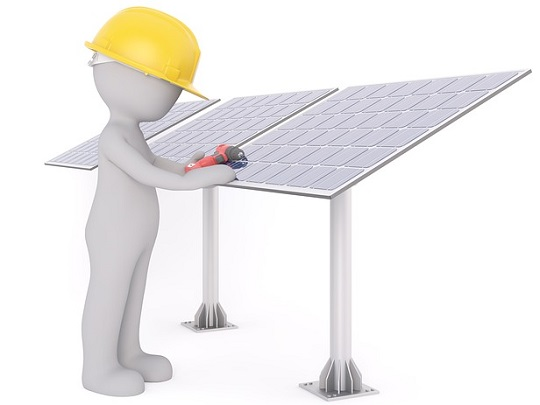 Graphic of person installing solar panels.