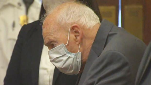 Former Cardinal Theodore McCarrick in Dedham District Court, September 3, 2021. (WBZ-TV)