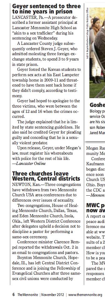 """Geyer sentenced to three to nine years in prison,"" The Mennonite, Nov. 2012, p. 6."