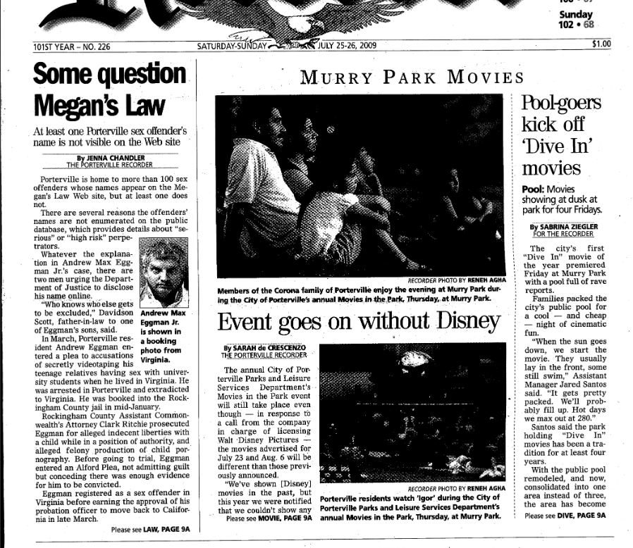 """Some Question Megan's Law,"" Porterville Recorder, July 25-26, 2009."
