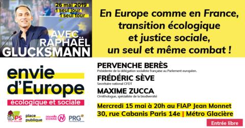 15 mai au FIAP | En Europe comme en France, transition écologique  et justice sociale,  un seul et même combat !