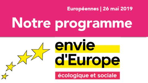 Européennes 2019 | Programme d'Envie d'Europe