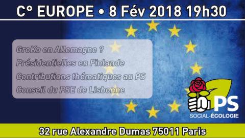 Commission Europe pour débattre Allemagne, Conseil du PSE et contributions thématiques