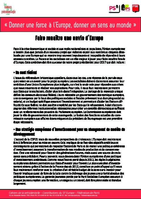 Contribution fédérale aux Cahiers sur l'Europe