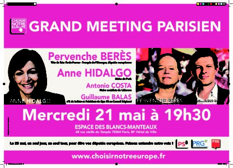 Européennes : Gd Meeting parisien «Choisir notre Europe»