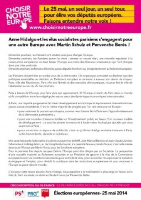 Appel des élu-e-s socialistes pour les Européennes du 25 mai 2014