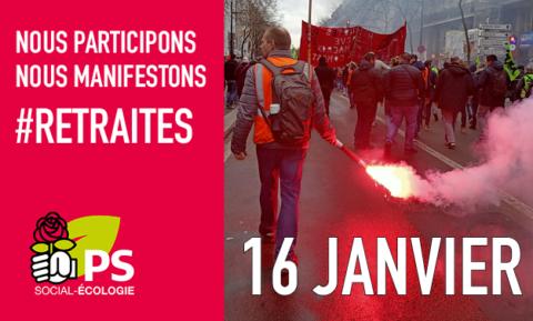 #Retraites | Le 16 janvier, on manifestera aussi