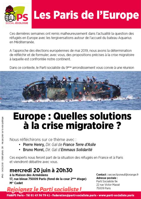 Débat «Europe: Quelles solutions à la crise migratoire?»