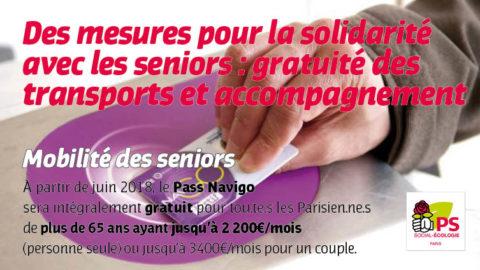 Des mesures pour la solidarité avec les seniors : gratuité des transports et accompagnement