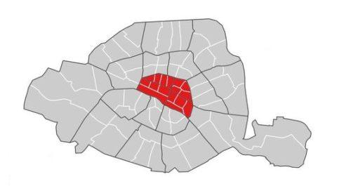 Regroupement des quatre premiers arrondissements de Paris
