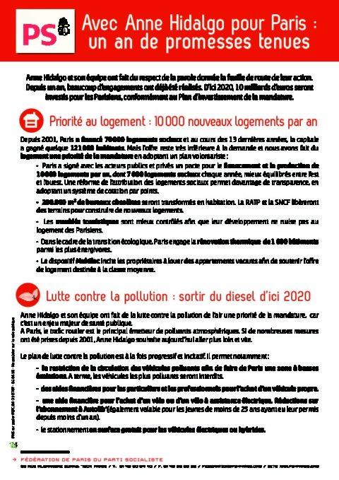 Avec Anne Hidalgo pour Paris : un an de promesses tenues