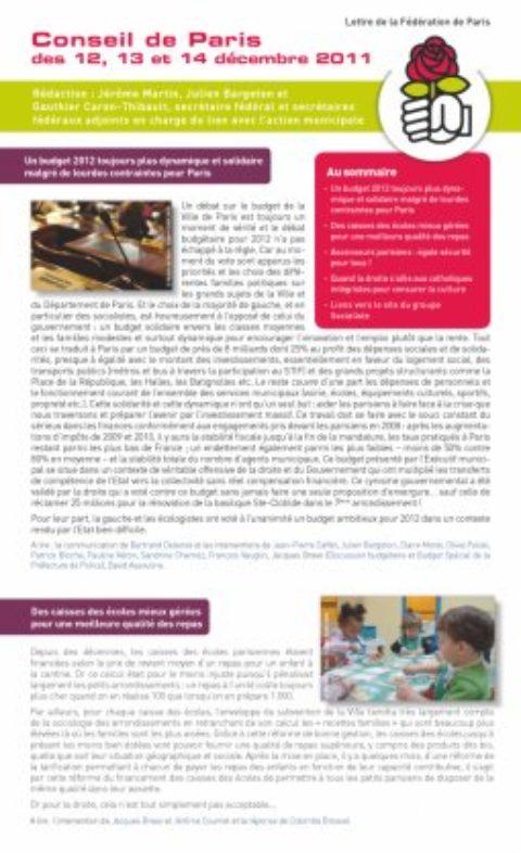 La Lettre du Secrétariat fédéral au lien avec l'action municipale de décembre 2011