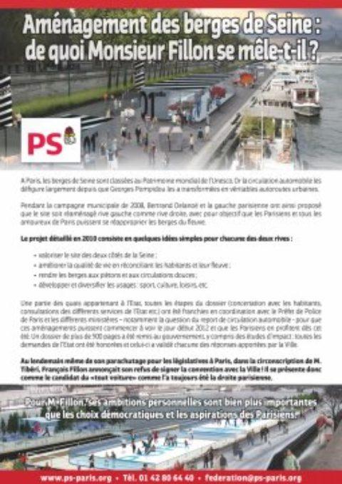 Tract : Depuis 5 ans, François Fillon maltraite les Parisiens