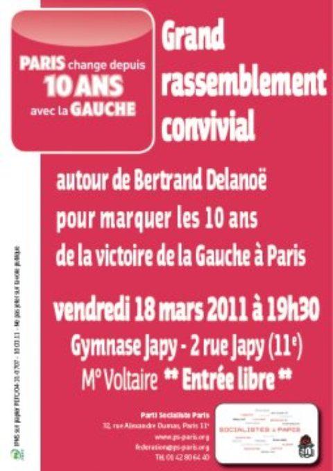 Marquer les 10 ans de la victoire de la Gauche à Paris