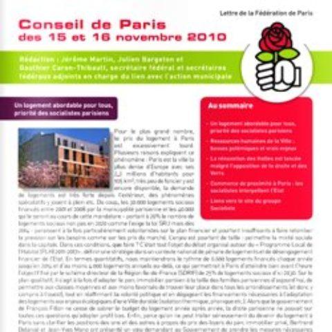 La Lettre du Secrétariat fédéral au lien avec l'action municipale – nov 2010