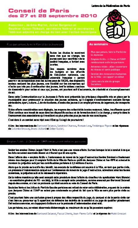 La Lettre du Secrétariat fédéral au lien avec l'action municipale de septembre 2010
