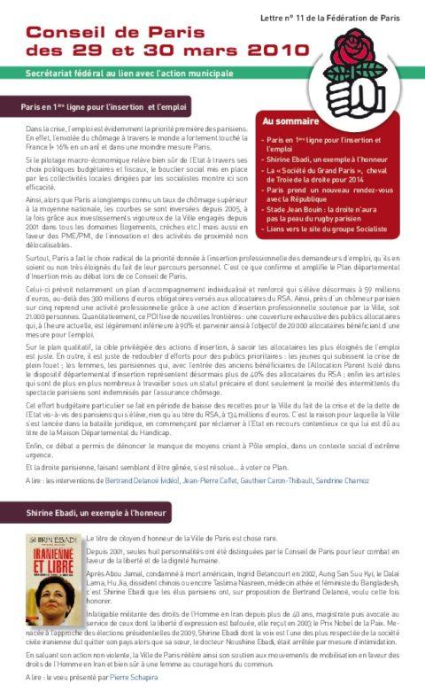 L'action des socialistes dans la vie municipale à Paris