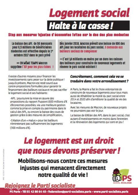Tract fédéral «LOGEMENT SOCIAL, halte à la casse !»