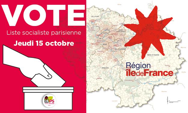 Vote du 15 octobre 2020 sur la liste des candidats socialistes à l'élection régionale en ïle-de-France