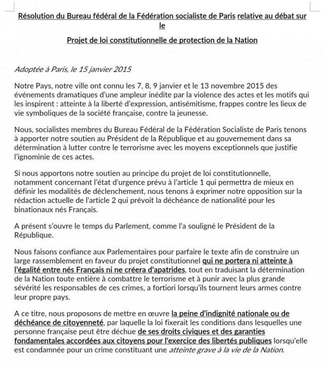 Communiqué PS Paris sur la déchéance de nationalité