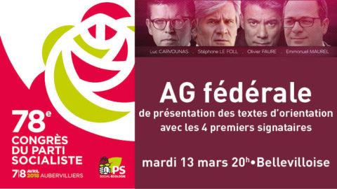 AG fédérale de présentation des textes | 13 mars 20h