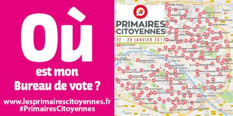 Carte des Bureaux de vote Primaires Citoyennes à Paris