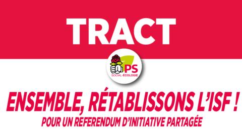 Tract parisien pour réclamer un référendum sur l'ISF