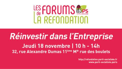 Forum de la Refondation: Réinvestir dans l'Entreprise